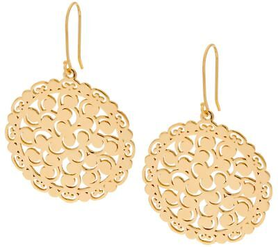Filigree Lace Round Disc Drop Dangle Earrings 14K Yellow Gold Clad Silver QVC  14k Yellow Gold Filigree Dangle Earrings