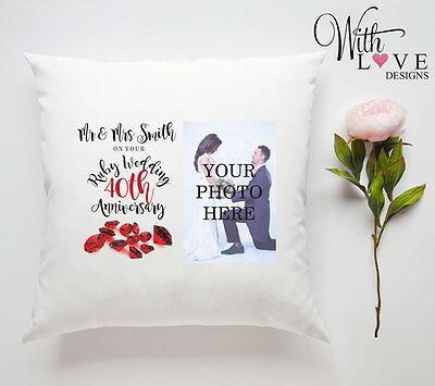40TH RUBY WEDDING ANNIVERSARY PERSONALISED PILLOW CUSHION PHOTO GIFT CUSTOMISED (40th Wedding Anniversary Dekorationen)