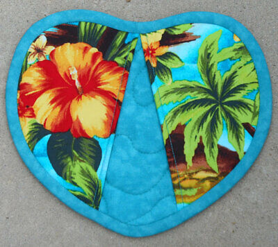 Heart Shaped Palms Hibiscus Floral Tropical Trees Oven Mitt Pot Holder