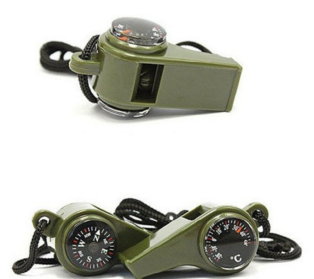 3 in1 Emergency Survival Gear Camping Hiking Whistle Compass Thermometer US Camping & Hiking