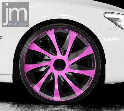 "4 x Radkappen DRACO CS Pink Rosa Schwarz 15"" Zoll Radzierblenden NEU DESIGN"