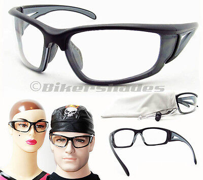 CLEAR Lens ANSI Z87 Safety Wrap Glasses Motorcycle Cycling Target Racket (Clear Lens Glasses Target)