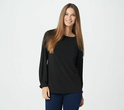 Susan Graver Size 1X Black Liquid Knit Bateau Neck Top with Pleated Cuff Pleated Knit Top
