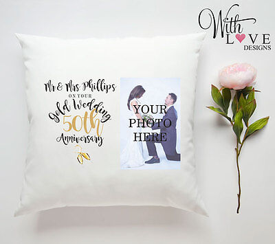 50TH GOLDEN WEDDING ANNIVERSARY PERSONALISED PILLOW CUSHION PHOTO GIFT CUSTOMISE ()