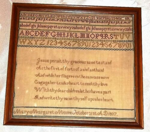 Antique Alphabet & Verse Sampler, by Mary Margaret Moore, Dated Halloween 1837