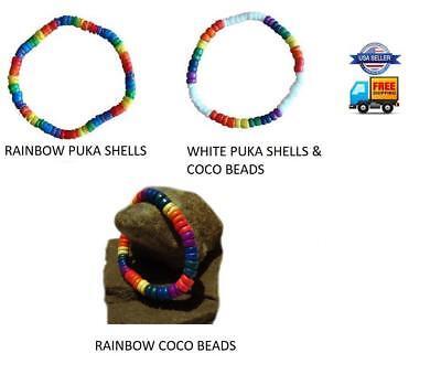 Gay Pride Rainbow Bracelet Anklet Coco Bead Puka Shell