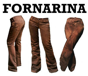 Fornarina AREA Wild Leder Hose Optik Stretch Schlag Jeans 28 29 30 31 32 33 WoW