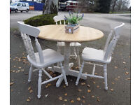 Small Painted Pine Round Dining Table and 3 Chairs