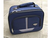 Blue small vanity bag case suitcase ideal flight carry on, mobile hairdresser, nails, samples etc