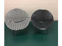 Pair of retro bucket chairs (available individually)