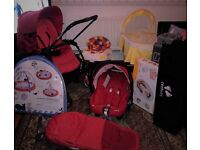 pram with car seat rain cover cosy toes -baby walker-baby bouncer-and more