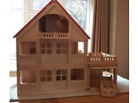 ELC Wooden Dolls House and Contents