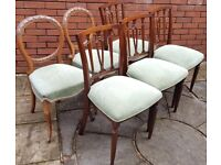 6 dining chairs, recently upholstered. Solid sturdy. Good condition. Can separate 4 or 2 matching.