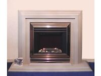 Wall mounting electric fire with matching surround - surface fitting