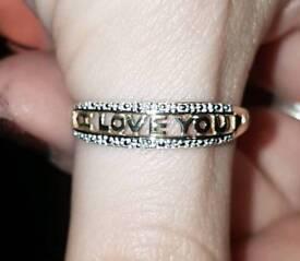 "9ct Yellow Gold Diamond ""I Love You"" Ring Sz N 375"