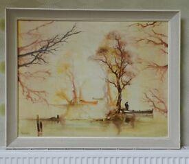 Very large Original Oil Painting on Canvas Retro 60's Landscape River Scene