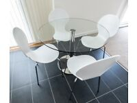 Glass and chrome Enzo dining table - seats 4 (from John Lewis)