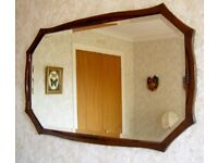 BEVELLED GLASS WALL MIRROR WITH PERIOD OAK FRAME