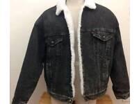 Vintage 90's Levis Black Denim Acid Washed Sherpa Fleece Lined - Large