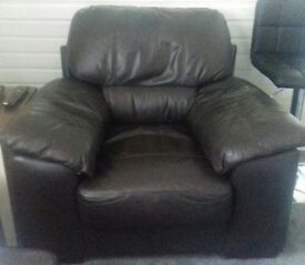 2 leather chocolate chairs