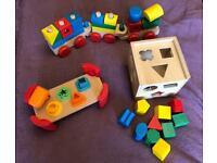 Wooden toy set 3 items- train, hammer bench & shape sorter