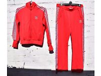 """Adidas Ladies Red with Light Blue Sports / Leisure Tracksuit C40"""" and W32"""""""