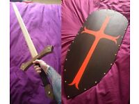 Hand Made Wooden Sword + Crest Knights Templar Painted Re-Enactment Shield Costume Stage LARP