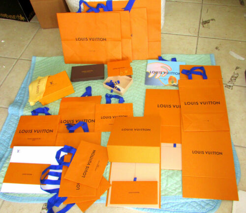 LOUIS VUITTON BOXES BAGS RIBBONS ASSORTED GROUP LOT / INCLUDES EVERYTHING SHOWN