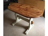 Refurbished pine oval dining table Annie Sloan Old Ochre