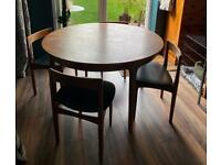 Mid century extending round teak table and chairs from Nathan - modern / danish style / retro
