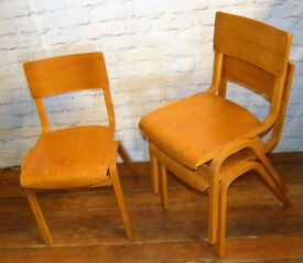 7 available Tecta school stacking vintage chairs antique industrial restaurant retro seating wooden