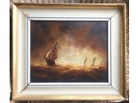 ORIGINAL OIL ON CANVAS OF SAILING SHIP ON STORMY SEA BY GRAHAM HEDGES