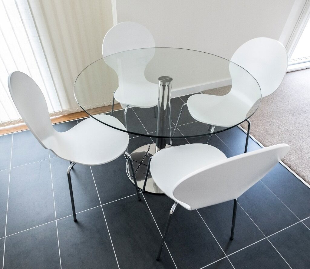 John Lewis Enzo 4 Seater Round Glass Top Dining Table Plus House