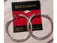 Hooped cubic zirconia earrings