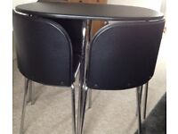 Space saving dining table and chairs (4 seater) Black