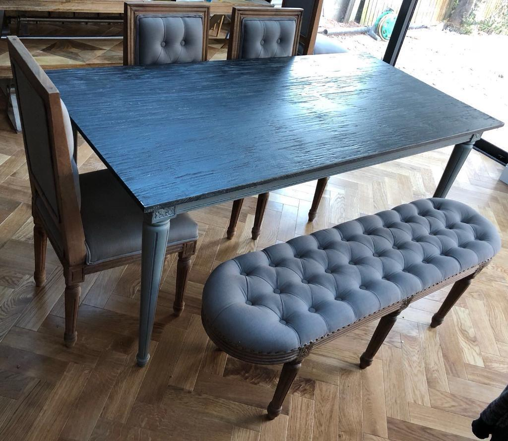 Made bourbon distressed grey vintage dining table