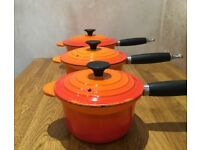 x 3 Le Creuset Cast Iron Saucepans - Volcanic Orange