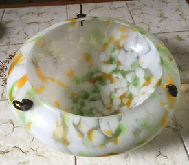 Art Deco Hanging Light Shade Bowl, Ceiling, Orange and Green.