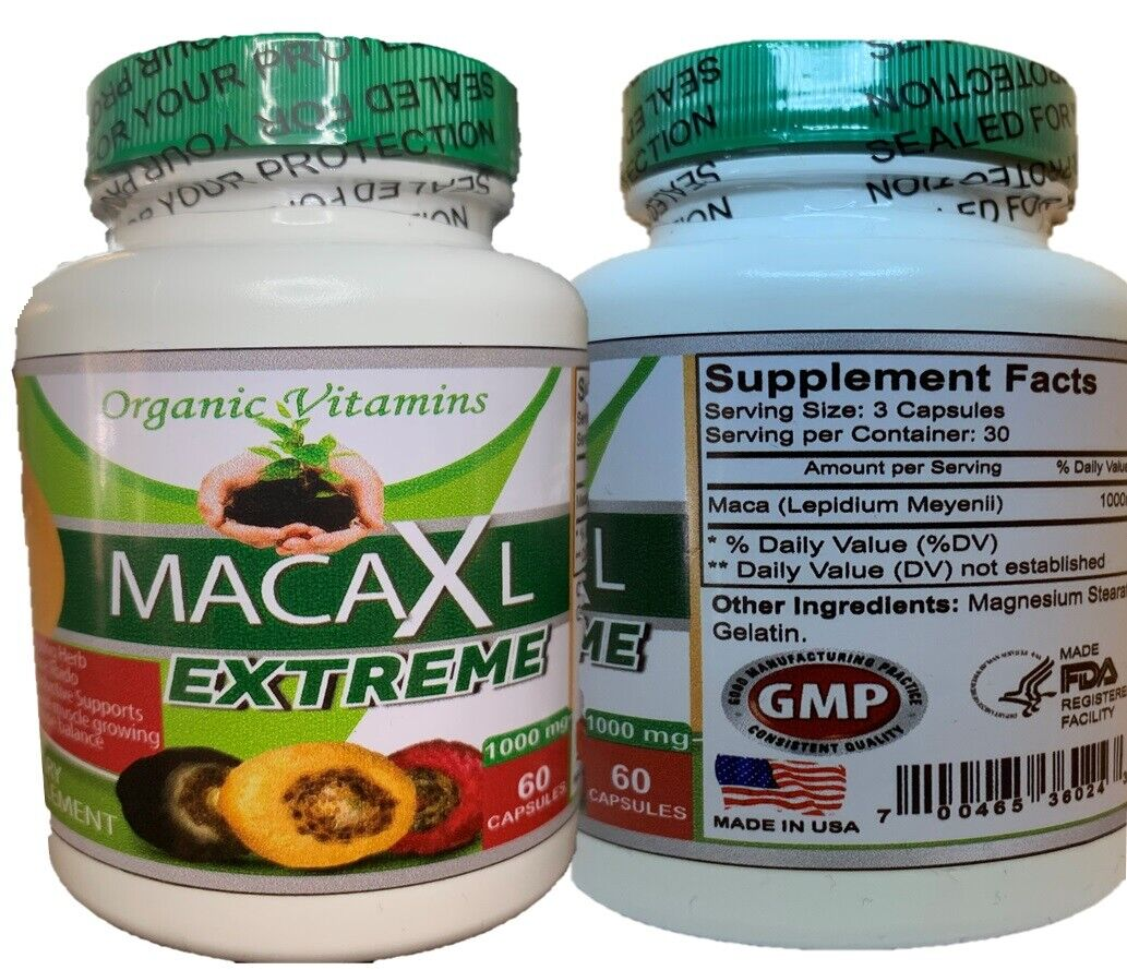 Organic vitamins Maca 1000mg extract 60 caps gold red black blend Energizing Her 5