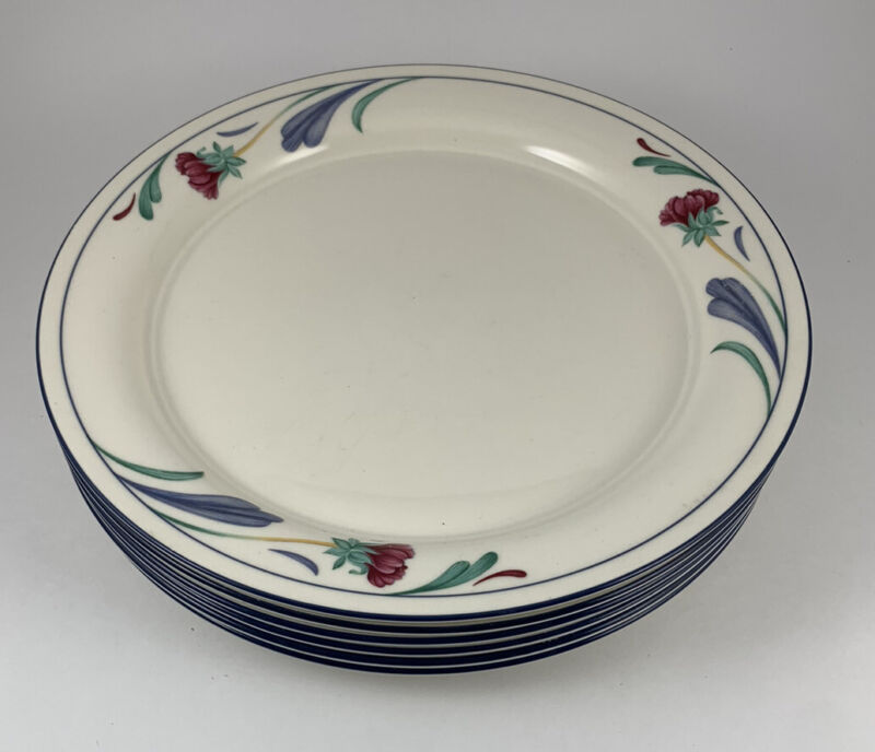 6 Lenox Poppies On Blue Dinner Plates