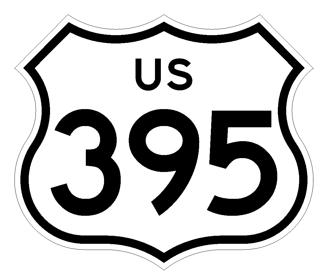 Home Decoration - US Route 395 Sticker Decal R1036 Highway Sign Road Sign