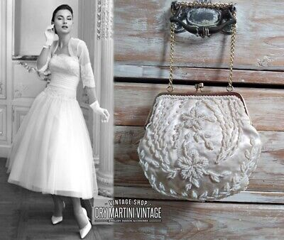 1950s Handbags, Purses, and Evening Bag Styles VINTAGE 1950s IVORY SILK SATIN GLASS BEADED EVENING BAG BRIDAL HANDBAG BEAUTIFUL $61.83 AT vintagedancer.com