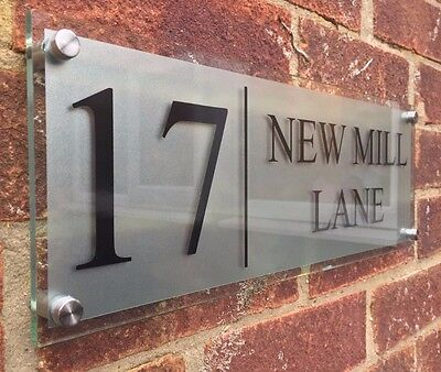 MODERN HOUSE SIGN PLAQUE DOOR NUMBER STREET FROSTED GLASS EFFECT ACRYLIC NAME XL