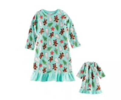 NWT Jammies For Your Families Holiday Cookies Nightgown w/Matching Doll Gown-2T](Matching Jammies For Family)