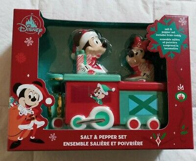 NEW! Disney Parks Christmas 2020 Mickey And Minnie Train Salt And Pepper Set