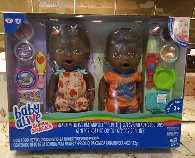 Baby Alive Super Snacks Snackin' Twins Luke & Lily Black African American Dolls  for sale  Sherman