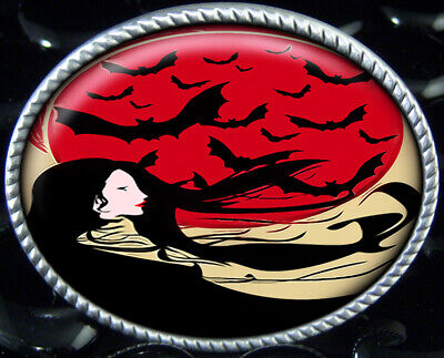 Gothic Bats Belt Buckle Japanese Art Nouveau Geisha Girl Oriental Pinup ](Bat Girl Belt)