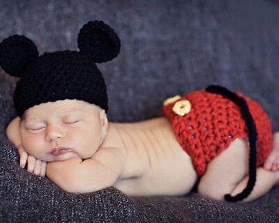 Baby Fotoshooting Kostüm Micky Mouse Maus Gehäkelt