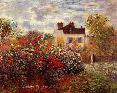 Monet's Garden at Argenteuil by Claude Monet Trees Flowers 8x10 Art Print 1003