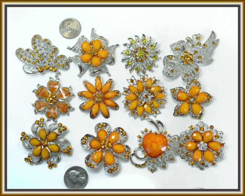36 pc Orange Brooches WHOLESALE LOT Bling Rhinestone BROOCH PIN Wedding